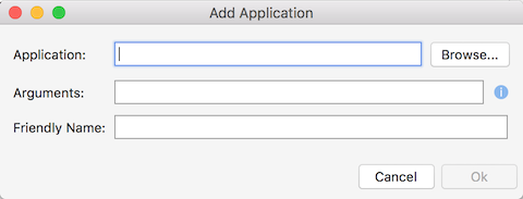 Add Application dialog
