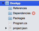 Dependencies error icon in Solution window