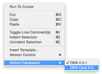 Active DNX framework context menu in text editor