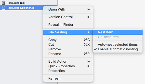 Manual file nesting - nest item context menu