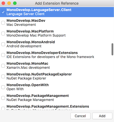 Language Server Client extension in Add Extension Reference dialog