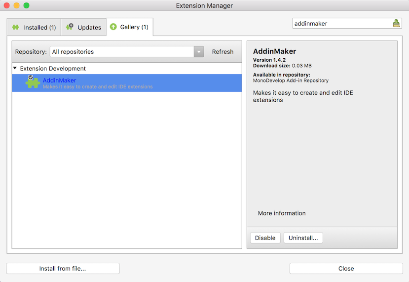 Addin maker selected in Extensions Manager dialog