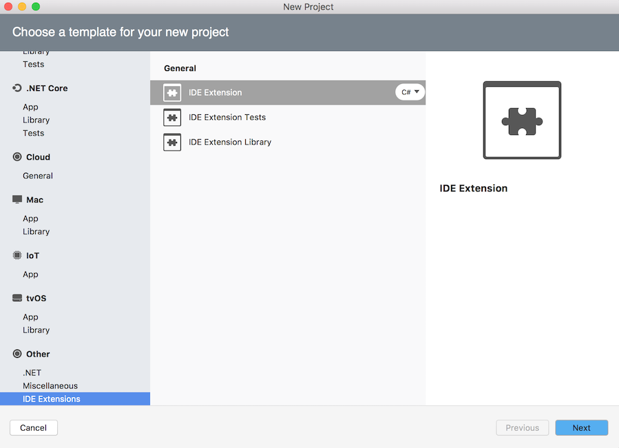 IDE Extension project selected in New Project dialog