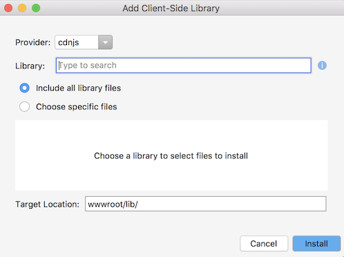 Add Client-Side Library dialog
