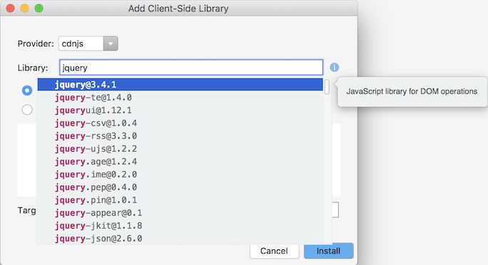 Add Client-Side Library dialog completion list