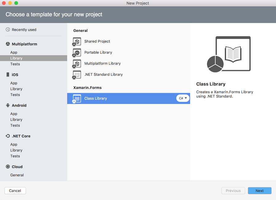 New Project dialog - Xamarin.Forms Class Library project