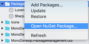 Open Package menu on Packages folder