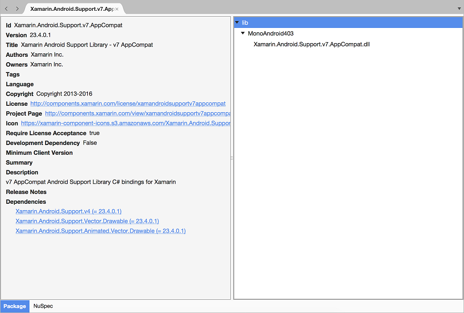 Exploring the Xamarin.Android.Support NuGet package in Xamarin Studio