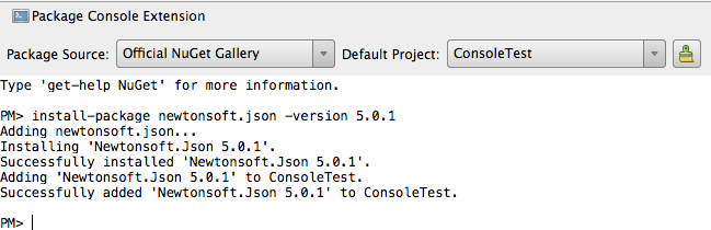 PowerShell Console Window - Installing Json.NET