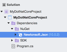 Newtonsoft.Json NuGet package in Solution window - .NET Core project