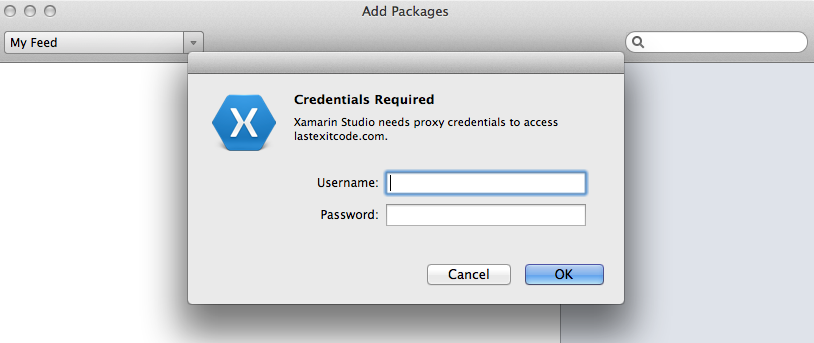 Proxy credentials dialog prompt