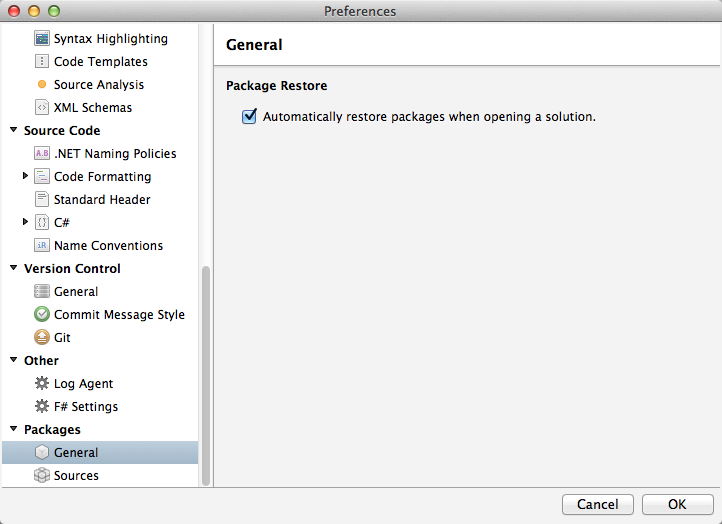 Preferences - automatic package restore