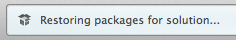 Packages being restored status bar message