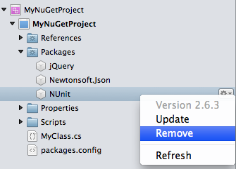 Solution window - package remove menu