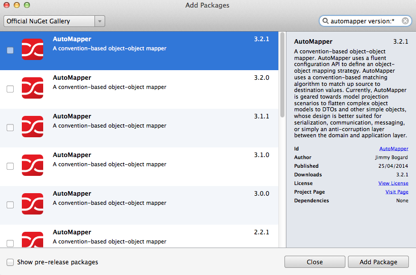 Add Packages dialog - all AutoMapper package versions