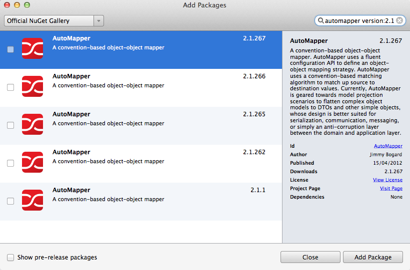 Add Packages dialog - AutoMapper 2.1 package versions