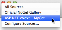 Add Packages dialog - package sources from solution NuGet.config