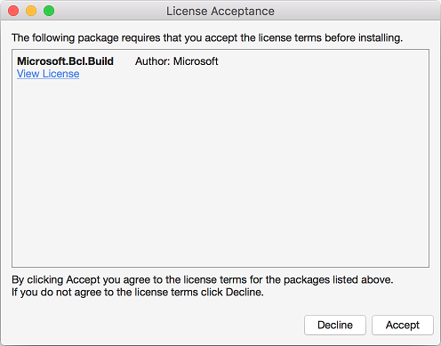 Package license acceptance dialog