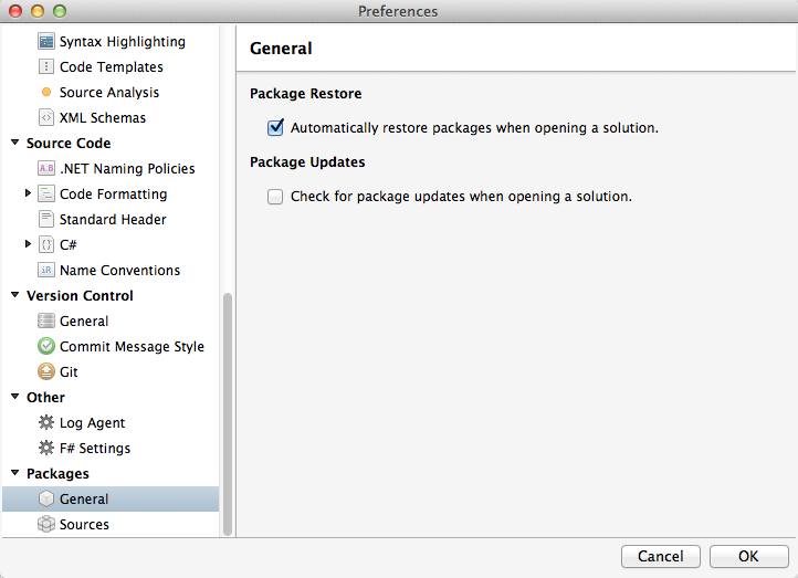 Preferences dialog - Check for package updates when opening a solution