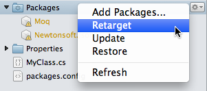 Solution window - Retarget project packages menu item