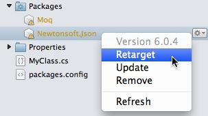 Solution window - Retarget menu item