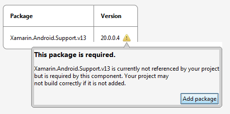 Android Support Library v13 CComponent Details page with Add Package pop-up window
