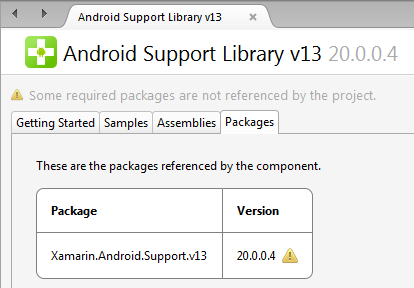 Android Support Library v13 CComponent Details page with missing NuGet Package