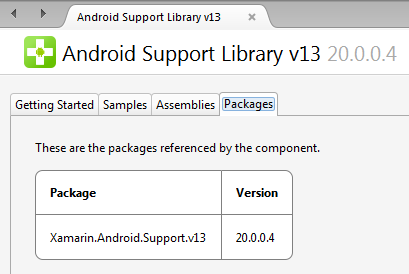 Android Support Library v13 Packages in Component Details page