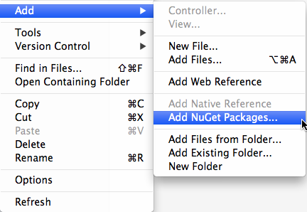 NuGet menu items in the Project context menu
