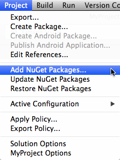 NuGet menu items in the main Project menu