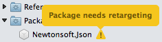 Solution Window - NuGet package needs retargeting
