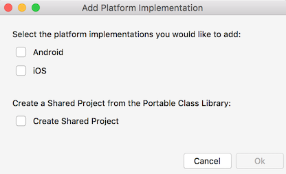 Add Platform Implementation dialog