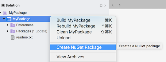 Create NuGet Package menu item