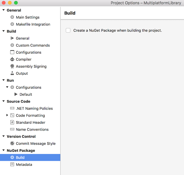 Creating a NuGet Package when building the project - project options