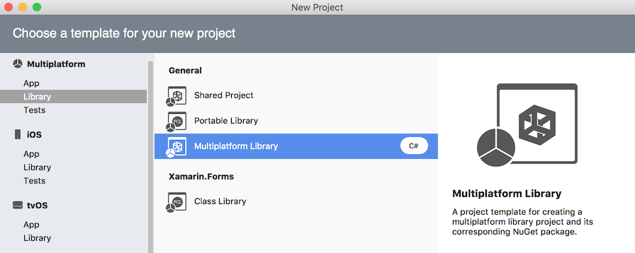 Mulitplatform Library project template in New Project dialog