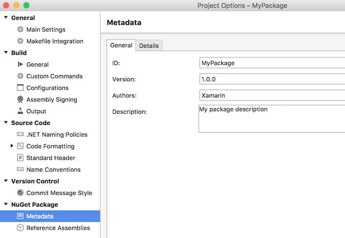 NuGet package metadata in project options
