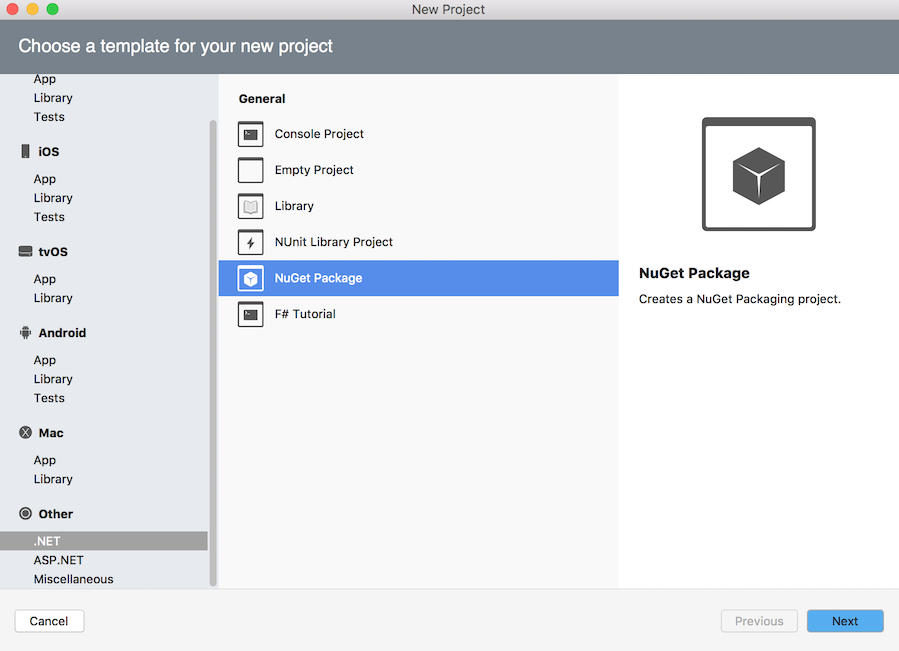 NuGet Package project template in New Project dialog