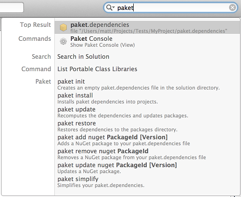 Paket commands in unified search