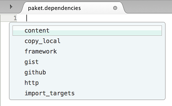 paket.dependencies file keyword completion