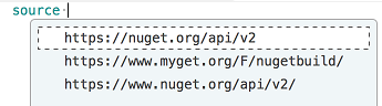 paket.dependencies file NuGet source completion