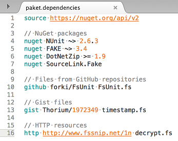 paket.dependencies file syntax highlighting