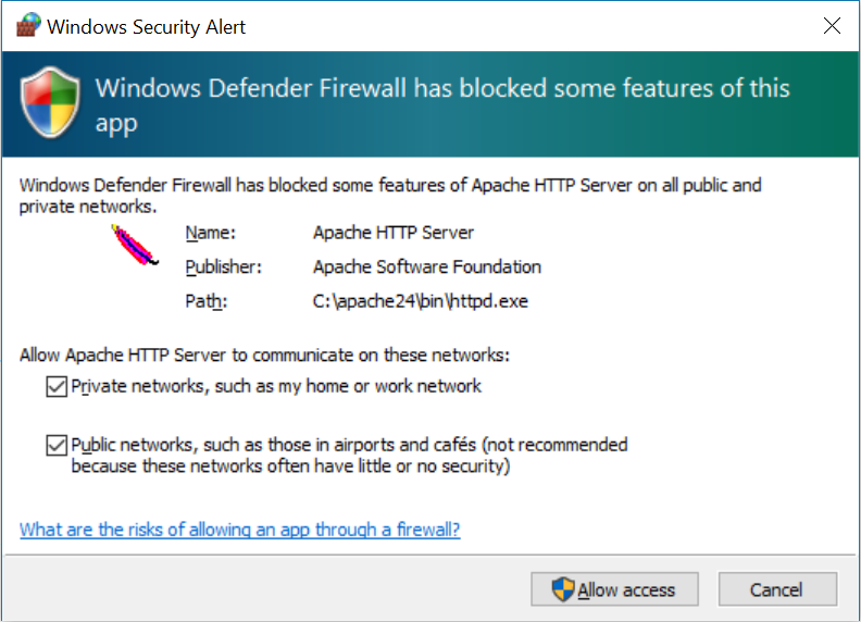 Windows Firewall alert for Apache