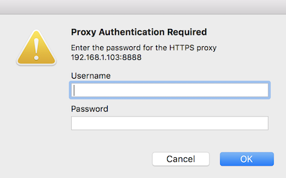 Mac proxy authentication required - credentials dialog