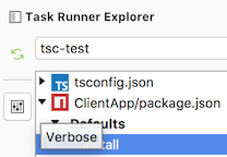 NPM task runner Verbose button