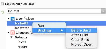 Task Runner Explorer Bindings menu