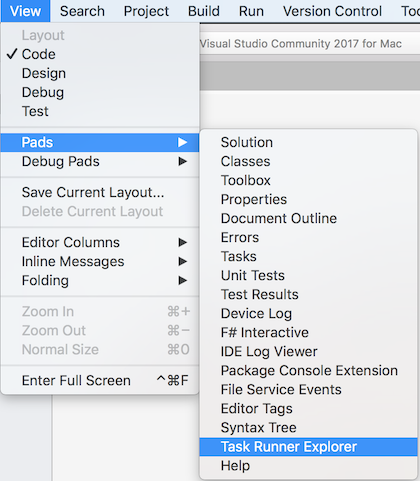 Task Runner Explorer in Visual Studio for Mac - Matt Ward
