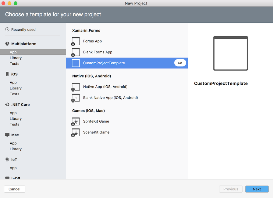 Custom template in New Project dialog