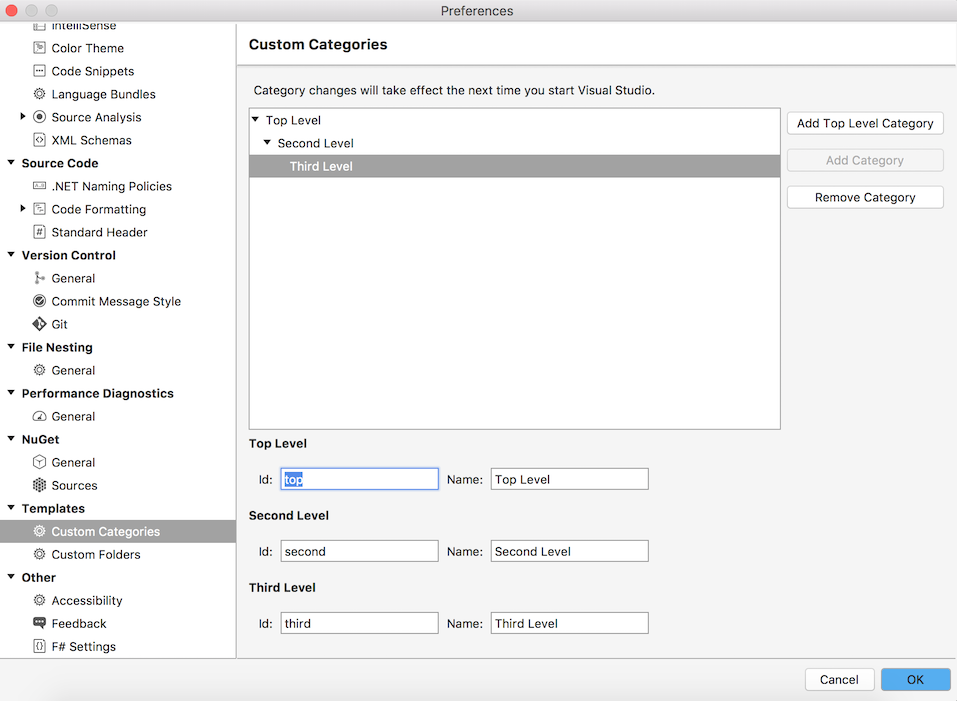 Preferences dialog - Templates - Custom Categories