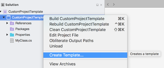 Project - Create Template context menu
