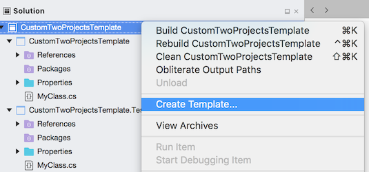 Solution - Create Template context menu